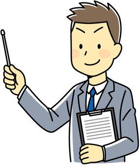 A salaryman who points
