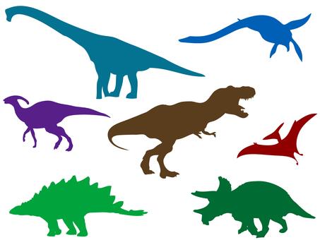 恐竜シルエット_セット