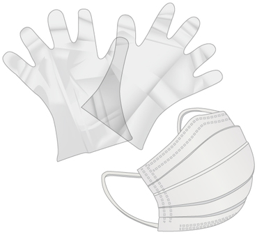 Polyethylene gloves and mask_01