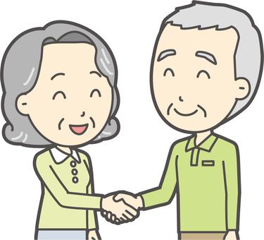 老人男性握手-053-バスト