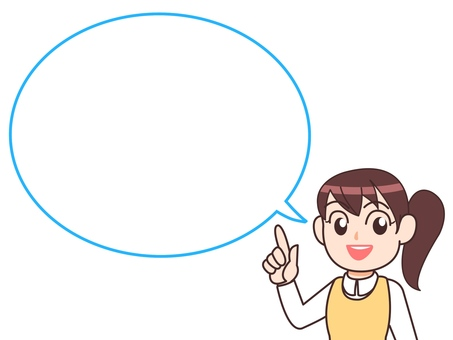 Pointing woman female ponytail speech bubble