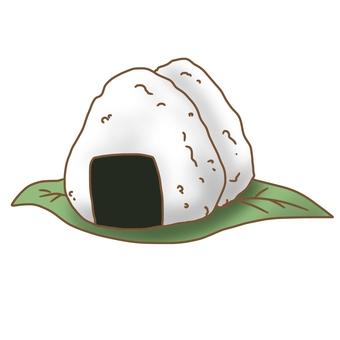Onigiri on leaf