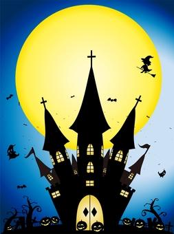 ハロウィン 夜のお城の風景