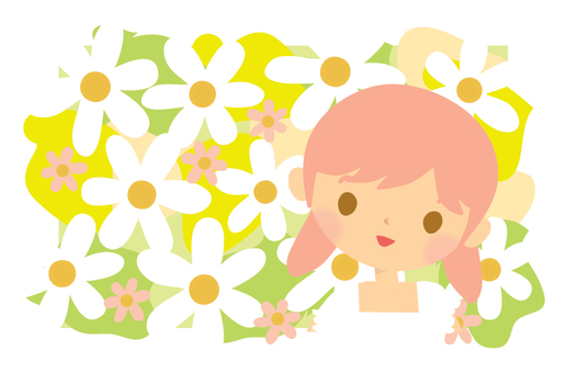 White flowers and girls