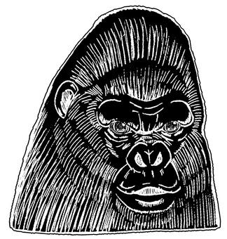 Gorilla monochrome painting