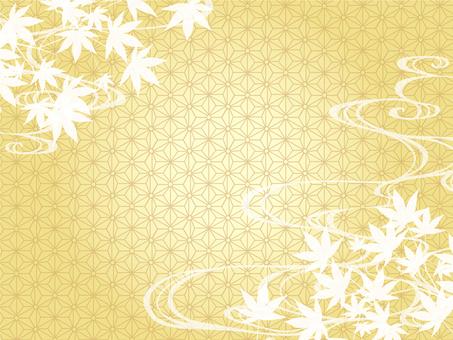 Japanese frame gold autumn leaves