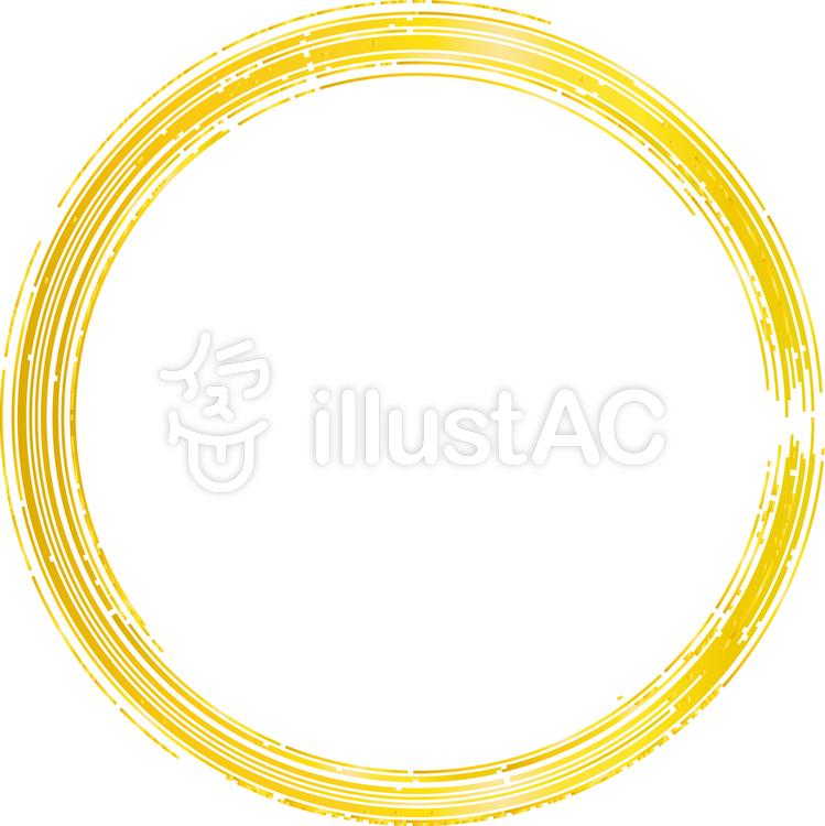 金色円丸フレーム枠和風和柄手書き上品イラスト No 338415無料