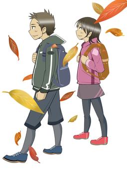 徒步旅行男性和女性1