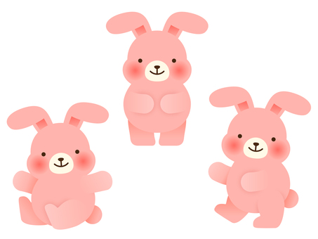 Pink rabbit set (front, sitting, walking)