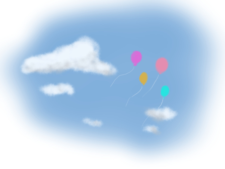 Blue sky, clouds and balloons