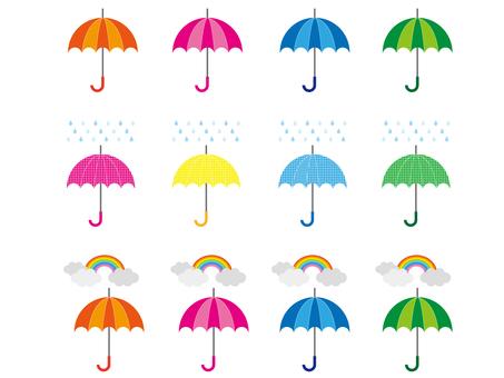 화려한 우산 세트