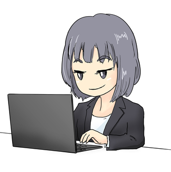 A woman in black jacket that operates a personal computer