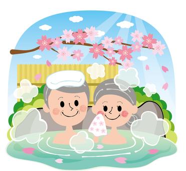 Sakura Spring's open-air bath family hot spring elderly people rock bath sky entering