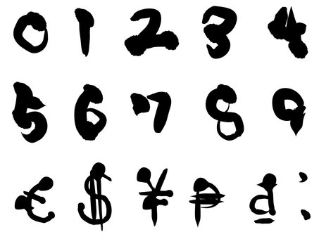 Brush writing number currency symbol