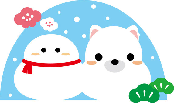 Snowman and white dog