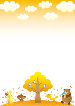 Cute frame of autumn animals A version vertical