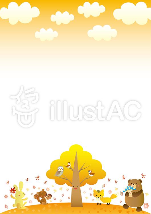 秋の動物たちのかわいいフレームa版縦イラスト No 589862無料