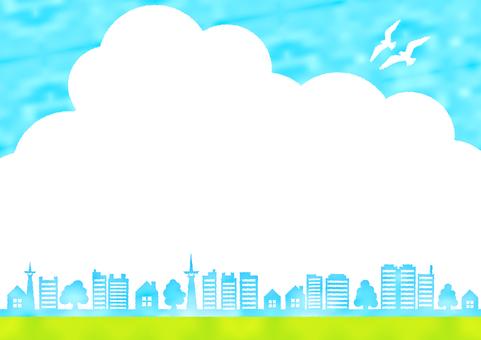 푸른 하늘과 새와 나무와 녹색 가정의 수채화 풍 프레임 프레임
