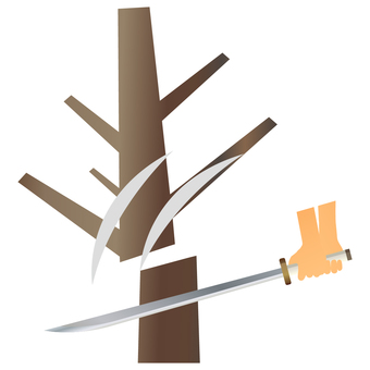 Cut a tree with a sword
