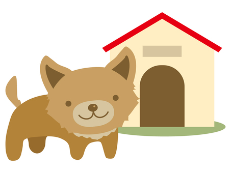 Dog and doghouse
