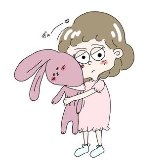 Girl embracing the rabbit