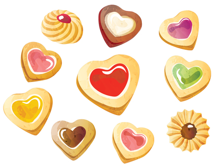 A lot of heart-shaped cookies
