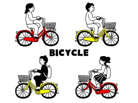 자전거에 오르는 인물 세트