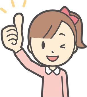 Girl pink long sleeve-052-bust