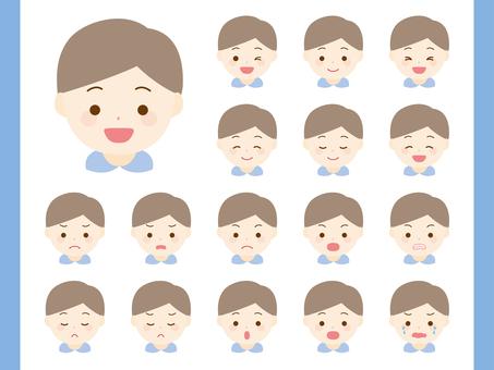 Boy facial expression set. 01