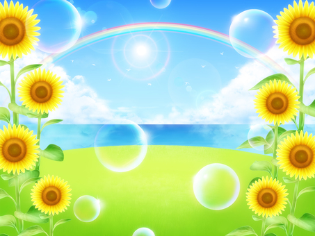 Summer sea view Hill with bubbles Sunflower background