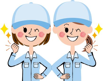 승리의 포즈 작업자 2 여성 모자 블루 윙크