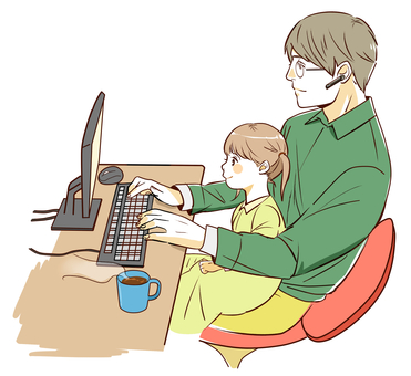 Man and child playing computer