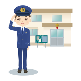 Male policeman & police box