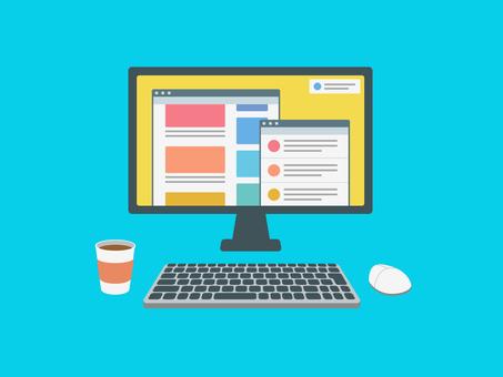 Desktop computer internet screen
