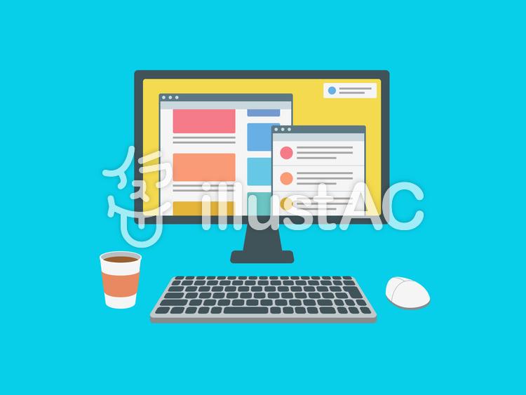 デスクトップパソコン インターネット画面のイラスト