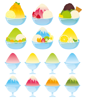 Various shaved ice