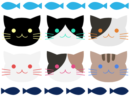 Set of six cats and fish
