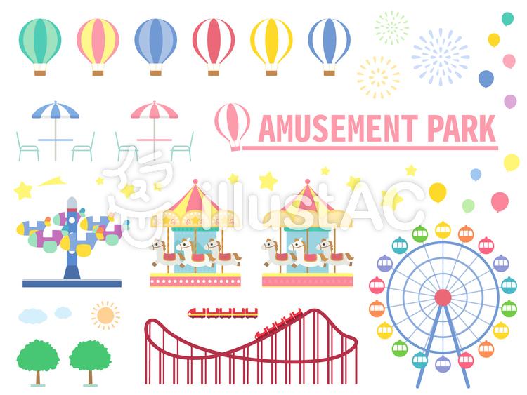 遊園地の素材セットイラスト No 1115246無料イラストならイラストac
