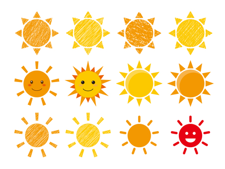 A set of illustrations of the sun