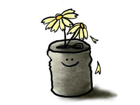 空き缶と花