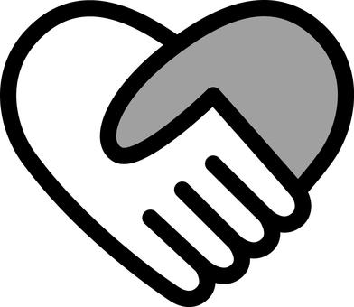 Heart _ handshake _ monochrome