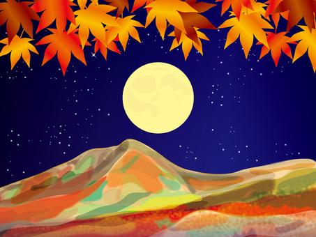 滿月和四季(12)秋葉和山脈在秋天