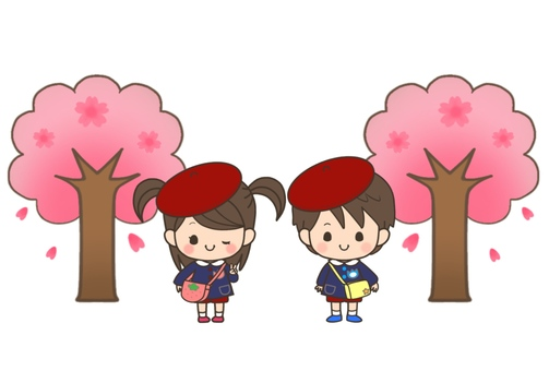 Children and cherry blossoms