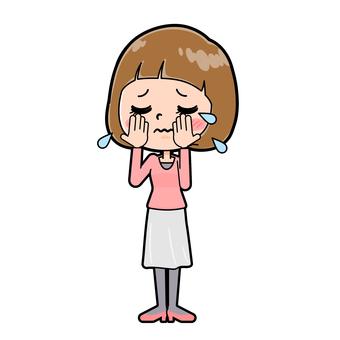 Pink clothes young woman cry