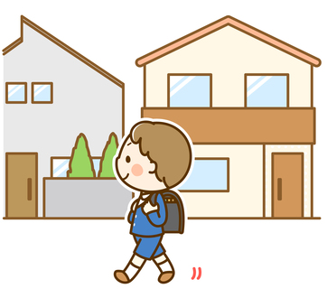 Boy in elementary school student going to school