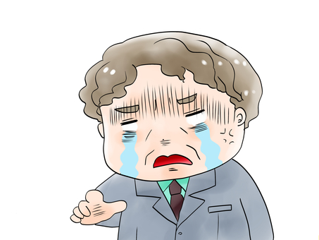 A man who gets angry while crying