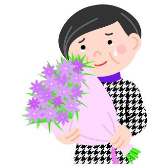 A veteran woman shedding tears while holding a bouquet