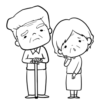 Elder couple troubled face set line drawing coloring