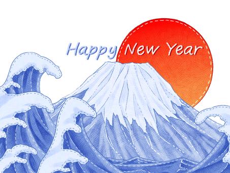 Mt. Fuji New Year's card Felt style illustration