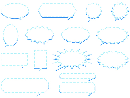 ai Various forms of balloon with light blue line 2